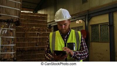 numérique, mâle, utilisation, tablette, 4k, ouvrier
