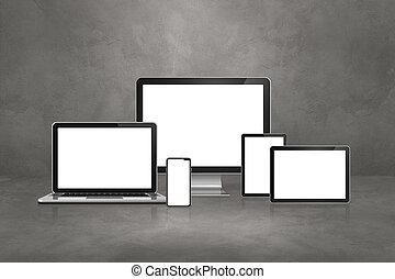 numérique, mobile, tablette, béton, ordinateur portable, pc., téléphone, fond, informatique