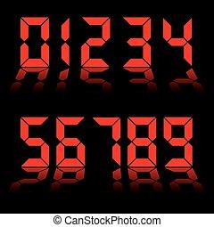 numérique, nombres, rouges, horloge