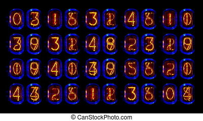 numérique, vieux, séquence, tube, compteur, nombre, nixie, filmé, horloge
