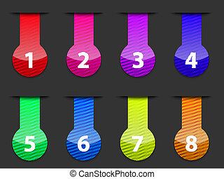 numéroté, toile, éléments, coloré, lustré, interface