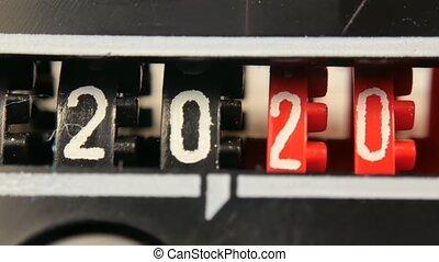 numbers., 2018-2025, ensemble, timer., compteur, année, compte rebours, numérique, nouveau
