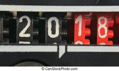 numbers., ensemble, timer., compteur, compte rebours, 2019, 2018, année, nouveau, numérique