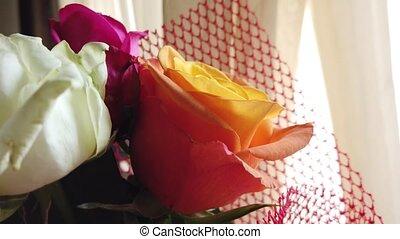 nuptial, rose., grand plan, roses, orange, bouquet