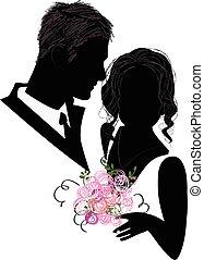 nuptial, silhouette, couple