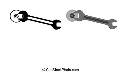 nut., tightens, clé, clé, pictogramme