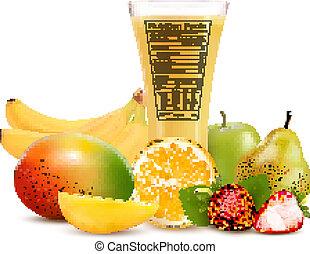 nutrition, vecteur, verre, illustration, jus, fruit, label., faits, frais