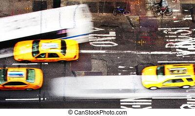 nyc, gens, scène abstraite, rue, trafic, amérique, manhattan