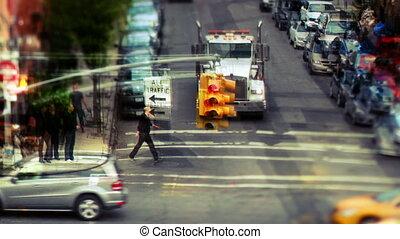 nyc, posé couches, gens, scène abstraite, rue, trafic, amérique, manhattan