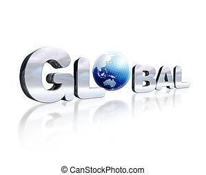 o., mot, d, lettrage, chromed, globe global, insignifiant, 3, endroit, réflecteur, perspective., la terre, blanc, surface., affiché