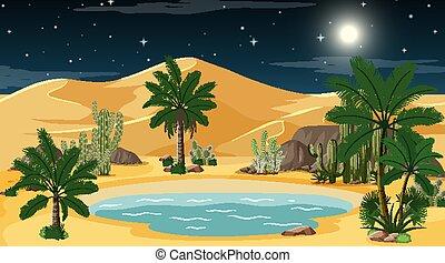 oasis, paysage, nuit, scène désertique, forêt