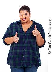 obèse, femme, abandon, gai, pouces