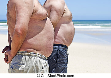 obèse, hommes, haut, graisse, deux, th, fin