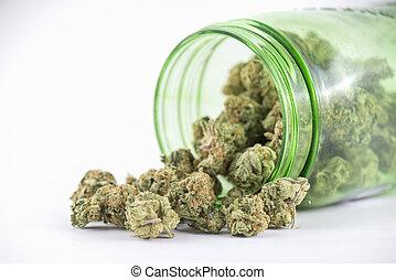 (ob, bourgeons, reaper, cannabis, strain), isolé, verre, blanc, pot, vert, détail