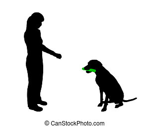 (obedience):, formation, prise, commande, chien