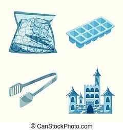 objet, ensemble, stock., gelée, isolé, symbole., eau, vecteur, mouillé, icône