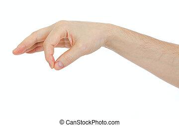 objet, quelques-uns, isolé, main, chose, tenue, blanc mâle