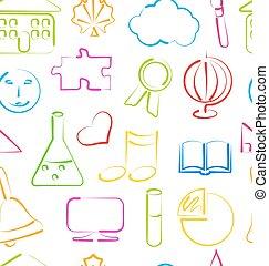 objets, école, papier peint, seamless, coloré