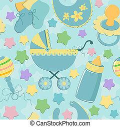 objets, bébé, seamless, fond