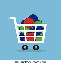 objets, charrette, entiers, achats