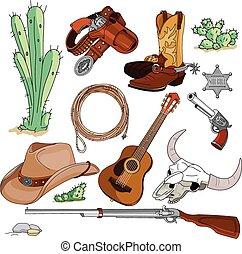objets, ensemble, cow-boy