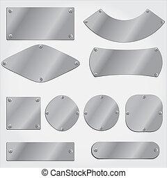 objets, groupé, métal, ensemble, plaques