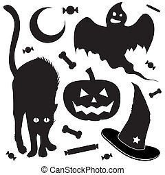 objets, halloween, croquis