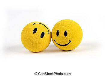 objets, -, jaune, visages souriants