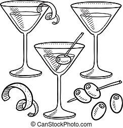 objets, martini, croquis