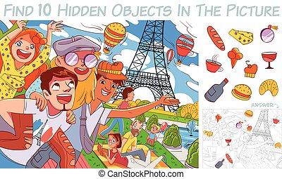 objets, picture., caché, trouver, articles, puzzle, 10