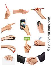 objets, tenant mains, ensemble
