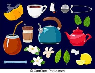 objets, thé, dessin animé, icônes, isolé, ensemble, vecteur