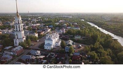 oblast, banque, résurrection, shuya, rivière, vue, ivanovo, ville, cathédrale, teza, russe, aérien