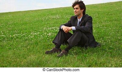 obtenir, vert, homme, complet, herbe, mensonge, beau