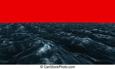 océan bleu, sous, orageux, écran, rouges