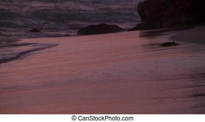 océan, closeup, calme, vagues, doux, sunset.