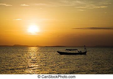 océan coucher soleil, sur