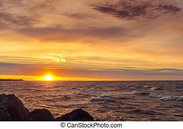 océan, levers de soleil, côte