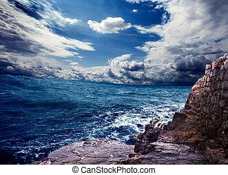 océan, orage, rochers