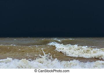 océan, orageux, vagues