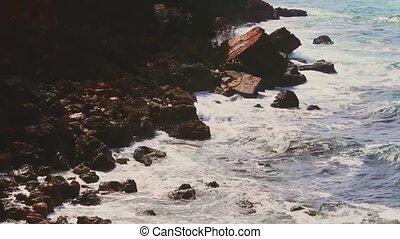 océan, pierres, nature, orage, vagues, falaise, rochers