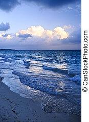 océan, plage, vagues, crépuscule
