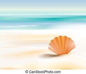 océan, sablonneux, cout, plage