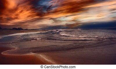 océan, sur, coucher soleil, rivage