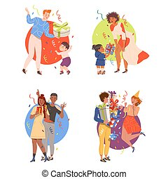 occasions, ensemble, chaque, célébrer, donner, illustration, vecteur, spécial, ou, gens, dons anniversaire, fetes, aimer, autre, caractères
