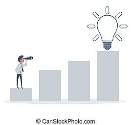 occasions, homme affaires, business, horizon, ideas., nouveau, recherche