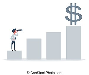 occasions, homme affaires, business, profits., horizon, nouveau, recherche