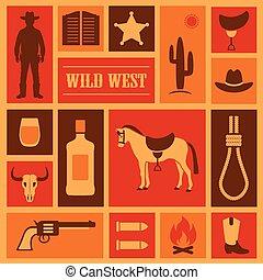 occidental, cow-boy, illustration