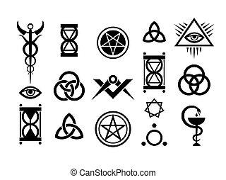 occulte, timbres, magie, signes