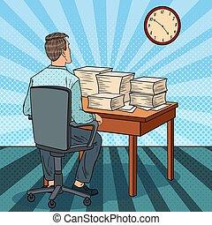 occupé, art, bureau, tas, work., ouvrier, illustration, heures supplémentaires, vecteur, pop, papers.